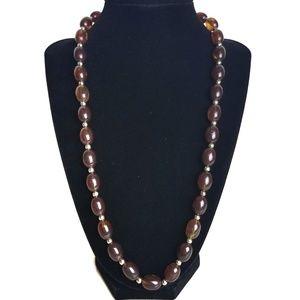 Vintage Dark Amber Beaded Necklace